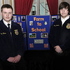 Greenbrier East FFA Students Alex Hanna, left, and Andrew Vance, right, stand by their project that they brought to Friday's Farm to School Collaborative showcase at the Greenbrier. F. Brian Ferguson/The Register-Herald