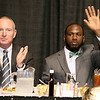Marshall head coach Doc Holliday and quarterback Rakeem Cato were the featured guest speakers at this year's Big Atlantic Classic Tip-Off Banquet.<br /> Brad Davis/The Register-Herald