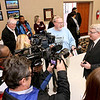 Mayor Bill O'Brien (right) chats with members of the media shortly after being sworn in Friday afternoon at city hall.<br /> Brad Davis/The Register-Herald