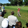 Billy Hurley III shoots from the rough on 16 with a crowd gathered around him during the Greenbrier Classic Saturday in White Sulphur Springs. He shot a 67 to stay in first place at 12-under heading into today.<br /> Brad Davis/The Register-Herald