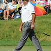 Angel Cabrera reacts to almost making a birdie putt on the 18th hole during the final round of The Greenbrier Classic.<br /> Rick Barbero/The Register-Herald