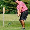 Beckley resident Jason Monroe Halstead chips onto the green on #2 during the second day of BNI tournament action Sunday morning at Grandview Country Club.<br /> Brad Davis/The Register-Herald