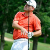 Jason Robinson watches his drive during the West Virginia Open Pro-Am Monday afternoon at Glade Springs Resort's Cobb golf course.<br /> Brad Davis/The Register-Herald