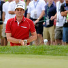 Keegan Bradley chips onto the green at 15 during the final round of the Greenbrier Classic Sunday in White Sulphur Springs.<br /> Brad Davis/The Register-Herald