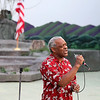 Sidney Catus sings the national anthem prior to the start of Theatre West Virginia's Hatfields & McCoys Friday night at Grandview Park's Cliffside Amphitheatre.<br /> Brad Davis/The Register-Herald