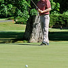Billy Hurley III watches his putt during the Greenbrier Classic Saturday in White Sulphur Springs. He shot a 67 to stay in first place at 12-under heading into today.<br /> Brad Davis/The Register-Herald