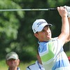 Webb Simpson hits his tee shot 18th hole during the second round of The Greenbrier Classic.<br /> Rick Barbero/The Register-Herald