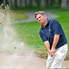 Five time winner Brad Westfall shoots from a bunker during the West Virginia Open Pro-Am Monday afternoon at Glade Springs Resort's Cobb golf course.<br /> Brad Davis/The Register-Herald