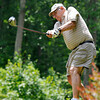 Boomer resident Bill White tees off on #2 during the second day of BNI tournament action Sunday afternoon at Brier Patch Golf Course.<br /> Brad Davis/The Register-Herald