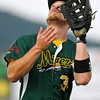 West Virginia first baseman Paul Trenhaile gets under a fly ball in foul territory to record an out during a game against the Chillicothe Paints July 22 at Linda K. Epling Stadium.<br /> Brad Davis/The Register-Herald