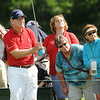 Tom Watson hits his tee shot on the 18th hole during the second round of The Greenbrier Classic.<br /> Rick Barbero/The Register-Herald