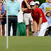 Chris Stroud chips onto the green at 17 during the final round of the Greenbrier Classic Sunday in White Sulphur Springs.<br /> Brad Davis/The Register-Herald
