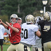 Ryan Griffin drops back for a pass during the New Orleans Saints fourth day of training camp on the new practice fields at The Greenbrier Resort.<br /> Rick Barbero/The Register-Herald