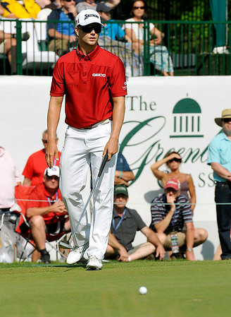 Chris Stroud shrugs his shoulders as he reacts to his putt coming up short on 17 during the final round of the Greenbrier Classic Sunday in White Sulphur Springs.<br /> Brad Davis/The Register-Herald