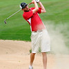 Oak Hill resident Randal Rosiek Jr. shoots from a bunker on #16 during the second day of BNI tournament action Sunday afternoon at Brier Patch Golf Course.<br /> Brad Davis/The Register-Herald