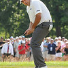 Angel Cabrera creacts after just missing a birdie putt on the 16th hole during the final round of The Greenbrier Classic<br /> Rick Barbero/The Register-Herald