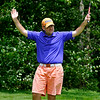Oak Hill resident Aaron Kemlock finally gets to celebrate a birdie on #16 during the second day of BNI tournament action Sunday afternoon at Brier Patch Golf Course.<br /> Brad Davis/The Register-Herald