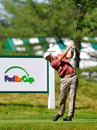 Billy Hurley III tees off on 16 during the Greenbrier Classic Saturday in White Sulphur Springs. He shot a 67 to stay in first place at 12-under heading into today.<br /> Brad Davis/The Register-Herald