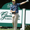 Billy Hurley III pointing to his tee shot that he hit left on the 12th hole<br /> Rick Barbero/The Register-Herald