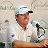 Golfer Jimmy Walker speaks to the media during a Tuesday press conference at the Greenbrier Classic in White Sulpher Springs. F. Brian Ferguson/The Register-Herald