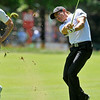 Camilo Villegas shoots from the fairway during the Greenbrier Classic Saturday in White Sulphur Springs.<br /> Brad Davis/The Register-Herald
