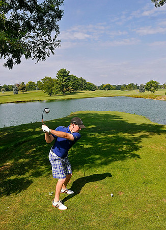 Daniels resident Don Jones tees off on #1 during the second day of BNI tournament action Sunday morning at Grandview Country Club.<br /> Brad Davis/The Register-Herald