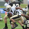 Derrick Strozier, 48 breaks away on a run play during the New Orleans Saints fourth day of training camp at The Greenbrier Resort.<br /> Rick Barbero/The Register-Herald