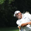 Angel Cabrera hits a shot on the 12th hole during the third round of The Greenbrier Classic<br /> Rick Barbero/The Register-Herald