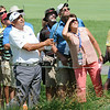 Angel Cabrera hits his second shot on the 9th hole during the final round of The Greenbrier Classic<br /> Rick Barbero/The Register-Herald