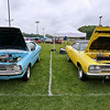 A pair of classic Plymouths sit on display during the 11th Annual Friends of Coal Auto Fair Saturday afternoon the YMCA Paul Cline Memorial Youth Sports Complex.<br /> Brad Davis/The Register-Herald