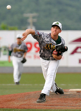 West Virginia starting pitcher Patrick LaGanke delivers against Chillicothe July 21 at Linda K. Epling Stadium.<br /> Brad Davis/The Register-Herald