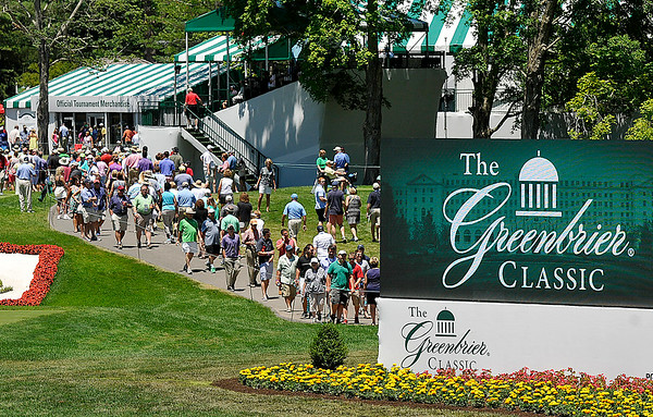 Golf fans swarm the grounds of the Old White TPC  during day three of the Greenbrier Classic Saturday afternoon. Yesterday's third round saw another robust crowd on hand to watch some of the stars of the PGA Tour and take in the Jimmy Buffet concert later in the night.<br /> Brad Davis/The Register-Herald