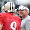 Sean Payton, Saints head coach laughs with Brew Brees during the New Orleans Saints fourth day of training camp at The Greenbrier Resort.<br /> Rick Barbero/The Register-Herald