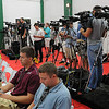 The working media during a Tuesday press conference at the Greenbrier Classic in White Sulpher Springs. F. Brian Ferguson/The Register-Herald