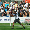 Brad Davis/The Register-Herald<br /> Hundreds of fans watch as receiver Brandin Cooks catches a pass during practice Saturday afternoon in White Sulphur Springs.