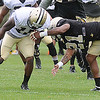 Brandin Cooks, left and Patrick Robinson collide going after a pass during the New Orleans Saints fourth day of training camp at The Greenbrier Resort.<br /> Rick Barbero/The Register-Herald