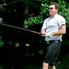 Ian Patrick watches his drive during the West Virginia Open Pro-Am Monday afternoon at Glade Springs Resort's Cobb golf course.<br /> Brad Davis/The Register-Herald