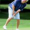 Greg McGraw reacts to a birdie putt attempt on th 10th hole during the BNI tournaments on the Cobb course at Glade Springs.<br /> Rick Barbero/The Register-Herald