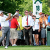 Angel Cabrera hits his tee shot on the 18th hole during the final round of The Greenbrier Classic.<br /> Rick Barbero/The Register-Herald