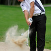 Stu Wiley shoots from a bunker during the West Virginia Open Pro-Am Monday afternoon at Glade Springs Resort's Cobb golf course.<br /> Brad Davis/The Register-Herald