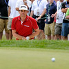 Keegan Bradley grimmaces at his chip attempt on 15 during the final round of the Greenbrier Classic Sunday in White Sulphur Springs.<br /> Brad Davis/The Register-Herald