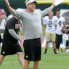 Sean Payton, Saints  head coach, reacts during a play the  New Orleans Saints ran on the fourth day of training camp at The Greenbrier Resort.<br /> Rick Barbero/The Register-Herald