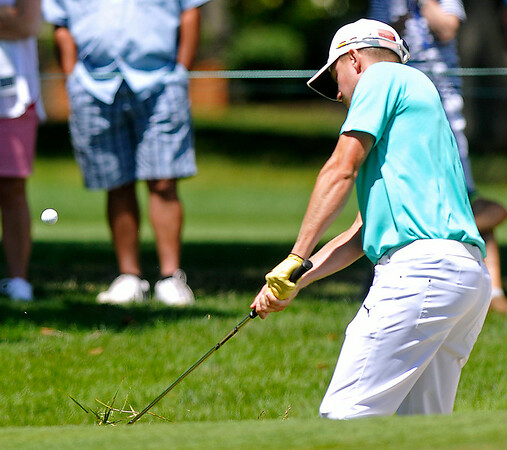Jonas Blixt, the leader going into Friday, chips onto the green during the second round of the Greenbrier Classic in White Sulphur Springs.<br /> Brad Davis/The Register-Herald