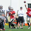 Luke McCown, 7, left, and Drew Brees, 9, throw a few passes during the New Orleans Saints fourth day of training camp on the new practice fields at The Greenbrier Resort.<br /> Rick Barbero/The Register-Herald