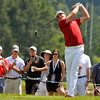 Keegan Bradley tees off on 16 during the final round of the Greenbrier Classic Sunday in White Sulphur Springs.<br /> Brad Davis/The Register-Herald