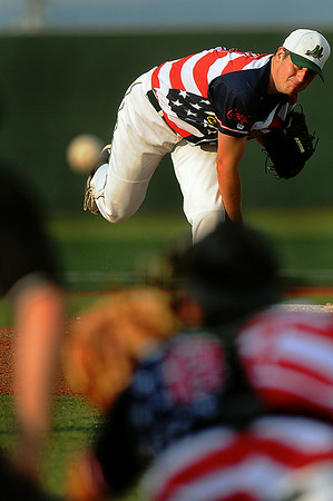 West Virginia Miners pitcher Ryan Lavoie delievers against Champion City during Thursday evening action at Linda K. Epling Stadium. F. Brian Ferguson/The Register-Herald