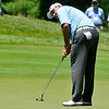 Angel Cabrera putts during the Greenbrier Classic Saturday in White Sulphur Springs.<br /> Brad Davis/The Register-Herald