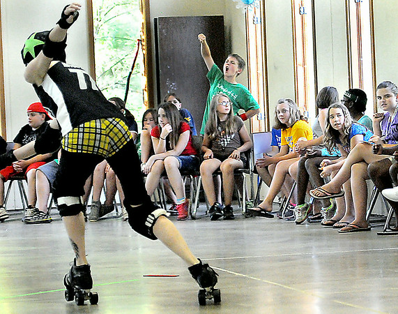Campers at the Raleigh County 4-H got a first-hand look at Roller Derby on Tuesday when the Beckley Area Derby Dames paid a vist to the camp in order to educate campers on the finer points of their derby. F. Brian Ferguson/The Register-Herald