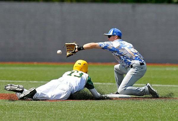 West Virginia's Ryan Perkins steals 2nd base during the Miners' 5-2 win over the Champion City Kings June 22 at Linda K. Epling Stadium.<br /> Brad Davis/The Register-Herald