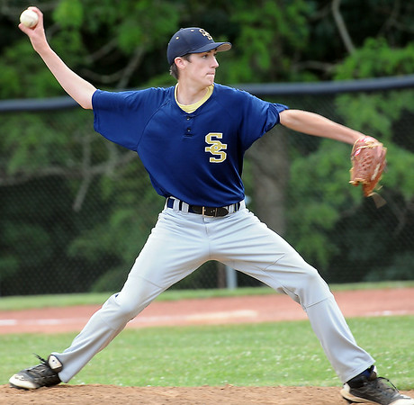 Shady Spring pitcher Ryan Snodgrass delievers against Independence during Thursday evening tournament action in Shady Spring. Shady won the contest in extra innings. F. Brian Ferguson/The Register-Herald